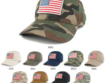 USA Flag ORIGINAL 2 Tactical Embroidered Patch Adjustable Structured Operator Cap (T91-USA-ORG2-T75)