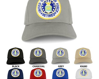 United States AIR FORCE Retired Circle Iron on Patch Adjustable Baseball Cap (27-079-PM390)