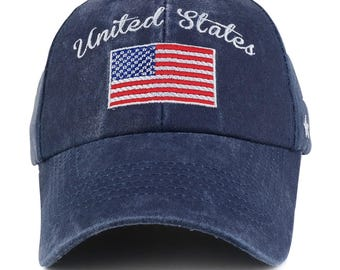 United States and Flag Embroidered Cotton Pigment Dyed Baseball Cap (6420)