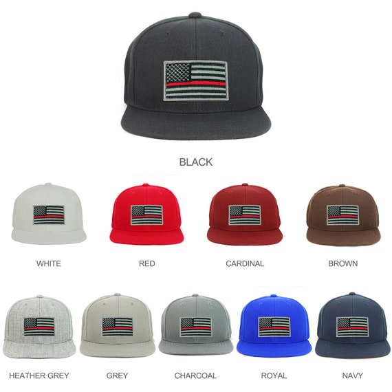 Youth Kid Size Thin Red Line American Flag Patch Flat Bill Snapback  Baseball Cap