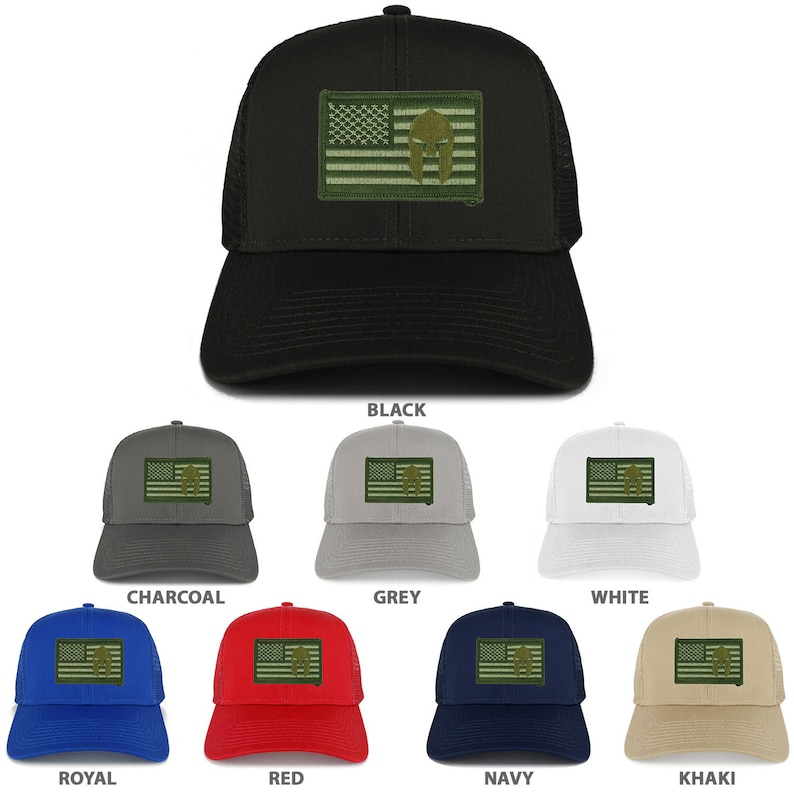 400961387a9d2a Olive USA Flag Spartan Embroidered Patch Snapback Mesh Trucker   Etsy