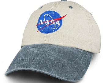 NASA INSIGNIA Embroidered Two Tone Pigment Dyed Cotton Cap - Beige Cap