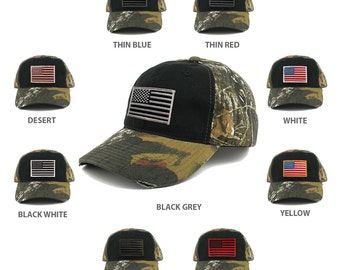 US American Flag Patch Mossy Oak Realtree Camo Adjustable Cap - BLACK  (C807-BLACK)