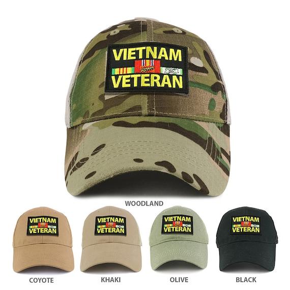 a2624c8d468 Vietnam Veteran Tactical Patch Cotton Adjustable Trucker Cap