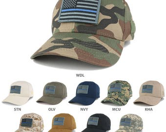 Thin Blue Line Tactical Embroidered USA Flag Patch Adjustable Structured Operator Cap (T91-USA-TBL-T75)