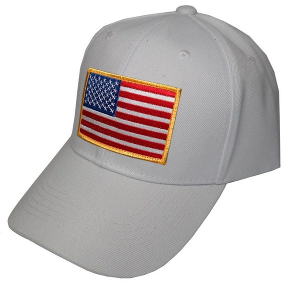 White Baseball Cap with Iron On US American Flag Patch  0909956b48a