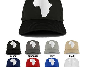 Solid White African Map Embroidered Iron on Patch Adjustable Baseball Cap (27-079-AFRICA-35)