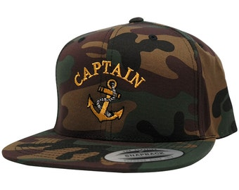 Flexfit Captain with Ships Anchor Embroidered Flat Bill Snapback Cap - 3 Colors