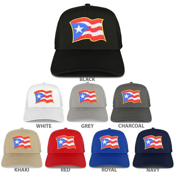 0ed400307bb Puerto Rico Waving Flag Patch Structured Mesh Trucker Cap