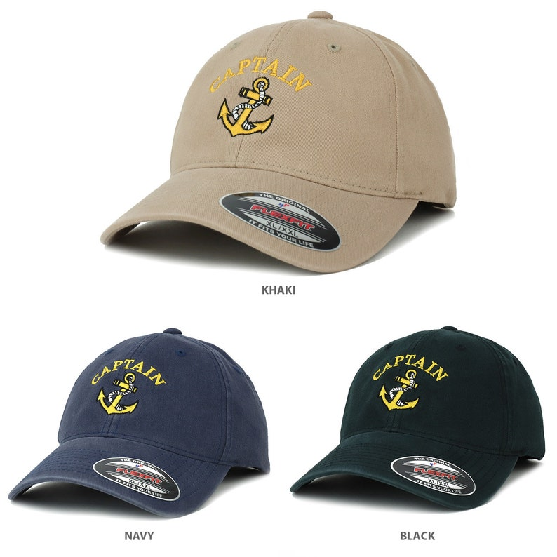 928d32b31 Oversize XXL Captain Anchor Embroidered Washed Cotton Flexfit Dad Hat