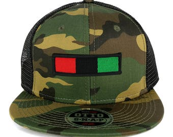 Africa Red Black Green Embroidered Iron on Patch Camo Flat Bill Snapback Mesh Cap (153-1120-AFRICA-30)
