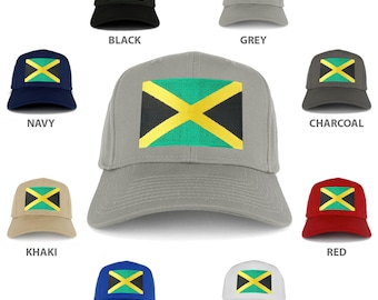 Large Jamaican Flag Embroidered Iron on Patch Adjustable Baseball Cap (27-079-BIGJAMAICA)