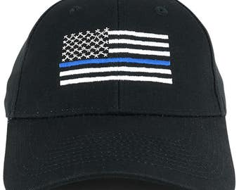 Police and Law Enforcement Support Thin BLUE Line Flag Embroidered Cap (SFLCPO-BLK)