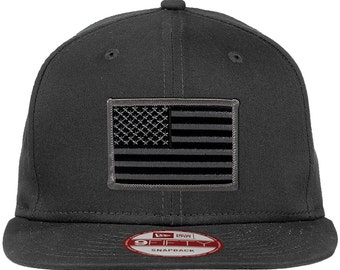 New Era 9FIFTY American Flag Patch Flat Bill Snapback Charcoal Cap - Choose Your Patch