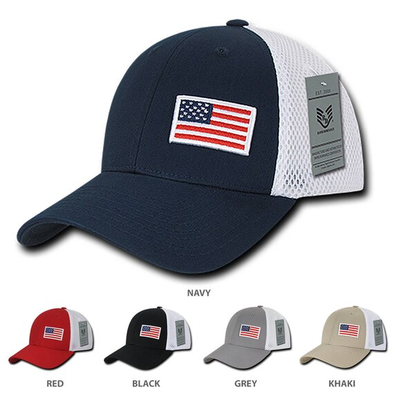 f3a9e841822 USA Flag Embroidered Aero Foam Mesh Flex Fitting Cap (A08)