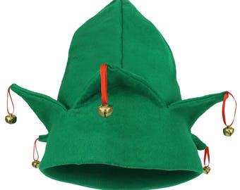 Christmas Santa's Helper Green Elf Hat with Bells(JH-20001RGAO)