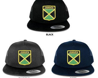 Flexit 5 Panel Jamaica Flag Shield and Text Embroidered Patch Snapback Mesh Cap  (6006-FPS120)