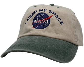 Nasa I NEED MY SPACE Embroidered Two Tone Washed Cotton Cap - Beige Cap