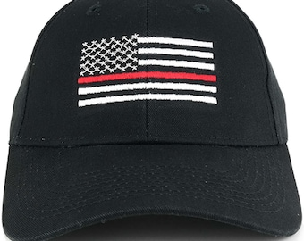 Fire Fighters Thin RED Line Flag Embroidered Cotton Baseball Cap (SFLCFF-BLK)