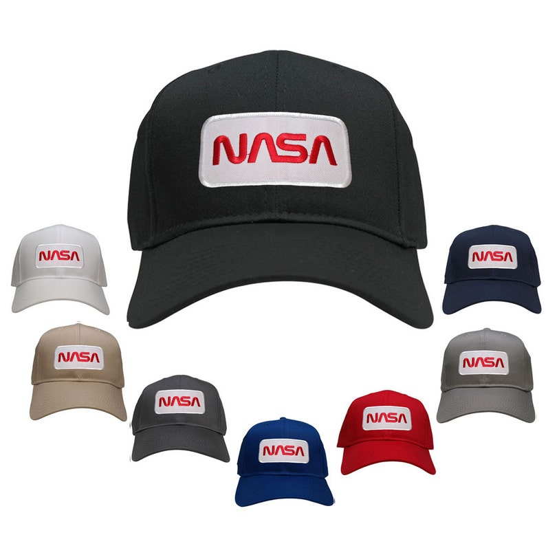 9490dd855 NASA Worm Red Text Embroidered Iron On Patch Snapback Baseball Cap  (27-079-PM303)