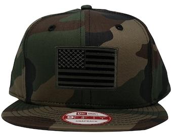 New Era 9FIFTY USA American Flag Patch Flat Bill Snapback Camo Cap - Choose Patch Color
