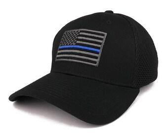 American Flag Embroidered Low Profile Flexible Air Mesh Baseball Cap (T88)