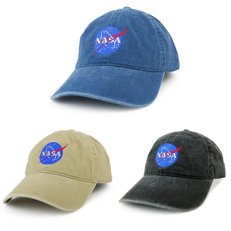 33941cad81b XXL NASA Insignia Logo Pigment Dyed Unstructured Baseball Cap
