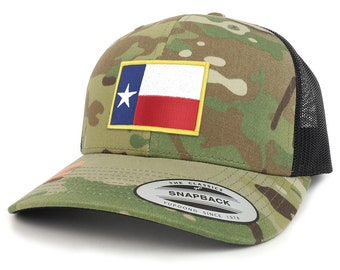 Texas State Flag Patch Camouflage Structured Trucker Mesh Baseball Cap (FLEX-6606MC-FPA544)