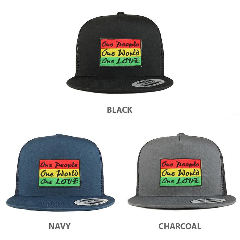 48c9b3462 5 Panel Rasta One People One World One Love Patch Flatbill Mesh Cap  (6006-ONERYG)