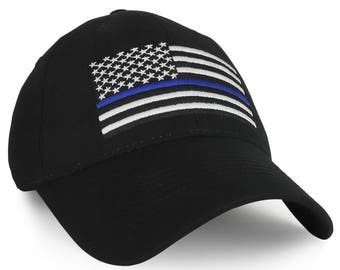 Police Law Enforcement US Thin Blue Line Flag Embroidered Baseball Cap (EC-6724)