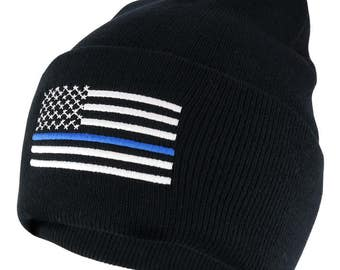 Police Law Enforcement Support Thin Blue Flag Embroidered Cuff Beanie Hat (SCPOLF-BLK)