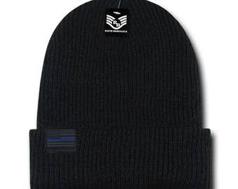 Thin Blue Line US American Flag Label Warm Cuff Folded Beanie Hat (R96-TBL)