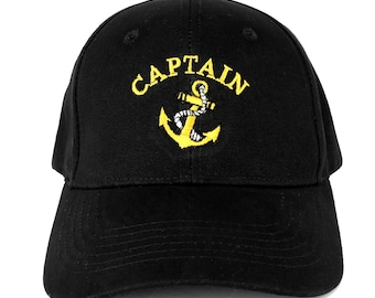 CAPTAIN ANCHOR Embroidered Deluxe 100% Cotton Cap - 2 Colors FREE Ship
