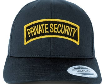 Private Security Tab Embroidered Iron on Patch Mesh Back Trucker Cap (6606-PM3411)