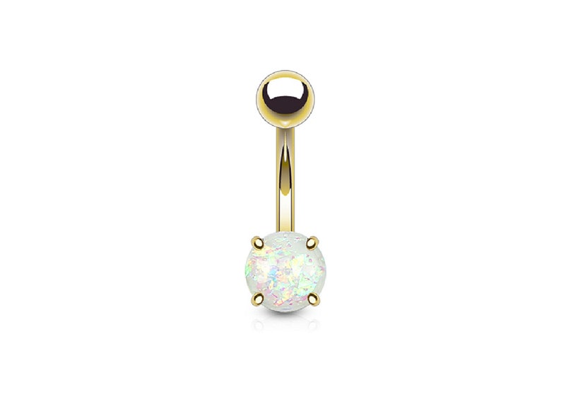 White Opal Glitter Prong Set Gold Plated Belly Button Rings Body Jewelry