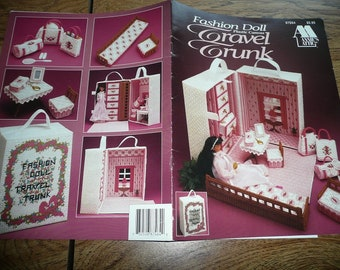 Annie's Attic Plastic Canvas Fashion Doll Travel Trunk Or Victorian Totes II Pattern Leaflets You Choose