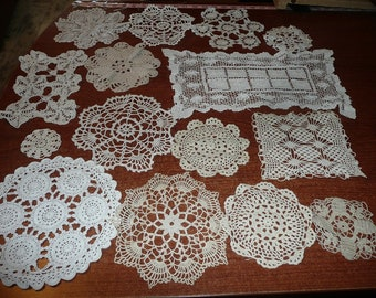 Hand Crocheted Neutral Color Doilies 15 Count