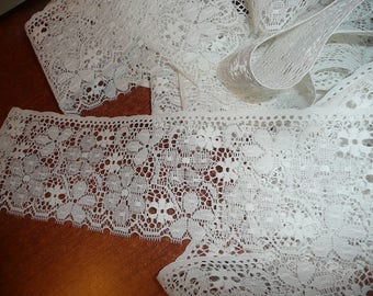 Crisp White 3 3/8 Inch Flat Lace By The Yard