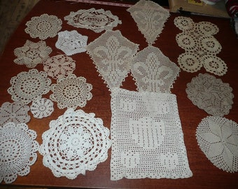 Hand Crocheted Neutral Color Doilies 18 Count