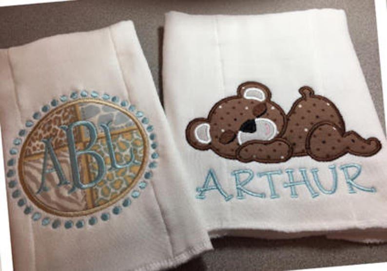Monogram Baby Burp Cloth Set  Personalized Name Burp Cloth  image 0