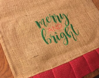 Christmas Burlap Table Runner, Burlap Table Runner, Table Runner, Christmas Runner, Holiday Decorating