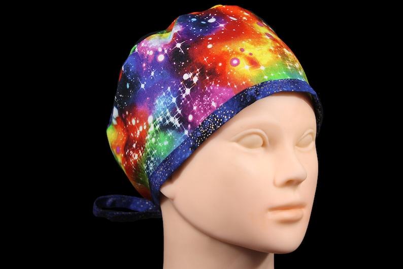 Rainbow Scrub Cap Scrub Hat for Men Scrub Hat for Women Rainbow Stars Scrub Hat Rainbow Space Surgical Scrub Hat LGBTQ Hat Tie Back