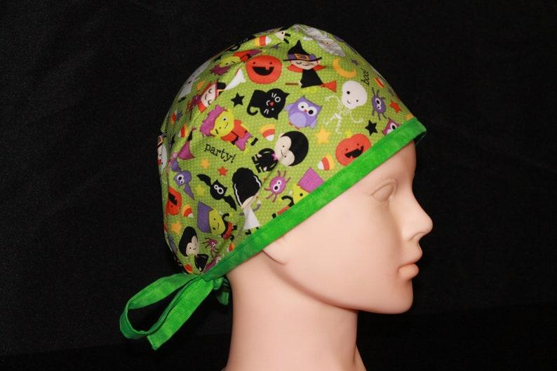 Green Halloween Parade Collection Surgical Scrub Cap