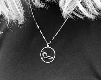Silver Oxytocin molecule necklace chemistry jewelry science jewelry gift for mom new mom necklace mother gift