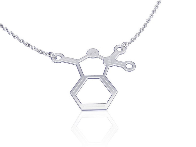 sterling silver necklace womens jewelry molecule necklace Saccharin molecule science jewelry  chemistry necklace