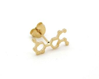 Adrenaline molecule earrings chocolate earrings  14K gold chemistry jewelry chemistry earrings molecule earrings
