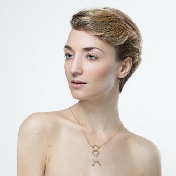 chemistry necklace molecule necklace -Methamphetamine  silver oxidized jewelry Molecule necklace 14K gold chemistry jewelry