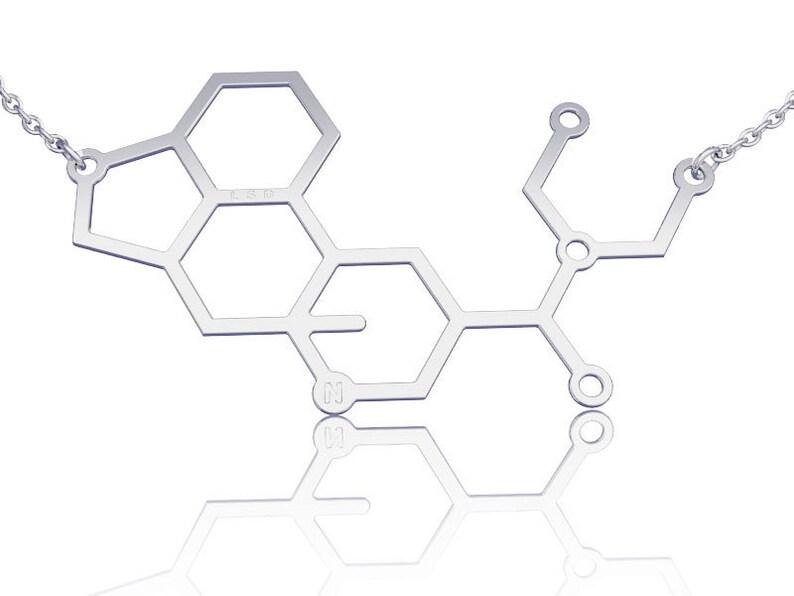 Lsd Molecule Necklace Lsd Necklace Sterling Silver Chemistry