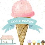 Watercolor Ice Cream / Ice Cream Clipart / Hand drawn / commercial use / scrapbooking, sewing, stickers