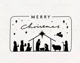 Nativity SVG & PNG Scene File Clipart Sublimation Graphic Design / Merry Christmas Jesus Birth Wisemen Shepherds / O Holy Night Frame Card